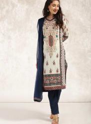 Anouk Women Off-White & Navy Blue Printed Kurta with Trousers & Dupatta