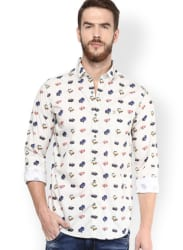 Mufti Men Off-White Printed Slim Fit Casual Shirt