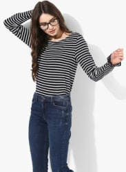 Navy Blue Striped T Shirt