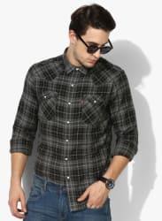 Black Checked Slim Fit Casual Shirt