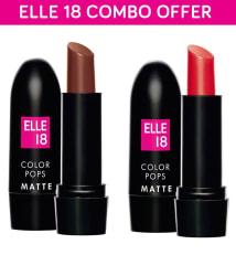 Elle 18 Combo of Color Pops Matte Lipsticks Belgian Brown & Selfie Red Pack of 2