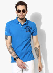 Blue Embroidered Regular Fit Polo T-Shirt