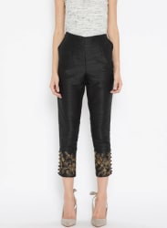 Black Embroidered Cropped Cigarette Trousers