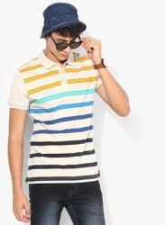 Multicolured Striped Regular Fit Polo T-Shirt