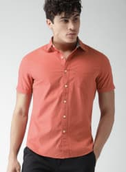 Coral Solid Slim Fit Casual Shirt