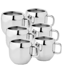 KC Stainless Steel Double Walled Coffee Tea Cup Mug 6 Pcs Set
