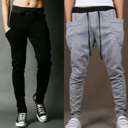 ToYouth Men s Black Polyester Trackpants Combo of 2