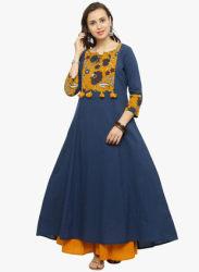 Navy Blue Printed Anarkali