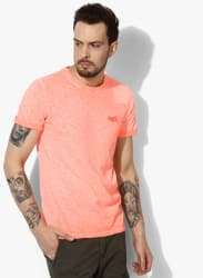 Peach Printed Round Neck T-Shirt