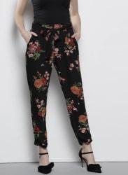 Black & Red Regular Fit Printed Trousers