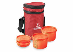 Joyo Fresherware Plastic Lunch Box Set, 4-Pieces, Red (JFRWATC4PCSTLUPARED)