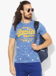 Blue Printed Regular Fit Round Neck T-Shirt