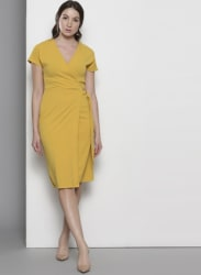 Yellow Coloured Solid Shift Dress