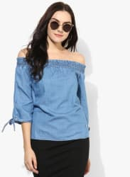 Blue Solid Blouse