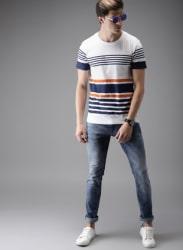 White Striped Round Neck T-Shirts