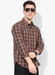 Rust Checked Slim Fit Casual Shirt