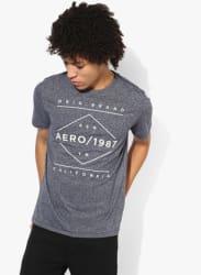 Grey Embroidered Regular Fit Round Neck T-Shirt