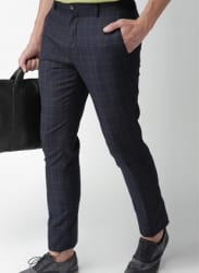 Navy Blue Checked Formal Trousers