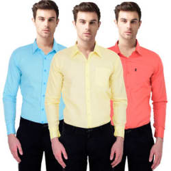 Balino London Slim Fit Casual Poly-Cotton Shirt for Men Pack Of 3