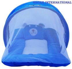 NAGAR INTERNATIONAL Blue Baby Bed with Mosquito Net- Nylon( 70 cm × 40 cm)
