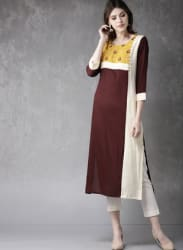 Coffee Brown Colourblocked Kurta
