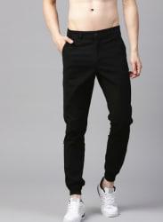 Black Regular Fit Solid Joggers