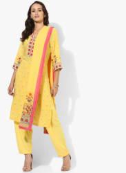Yellow Printed Kurta Pants Dupatta