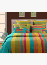 Multi Striped 104 TC Cotton 1 Single Bedsheet With 1 Pillow Cover