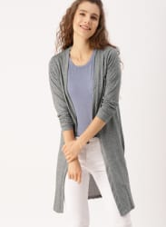 DressBerry Charcoal Grey Solid Open Front Longline Shrug