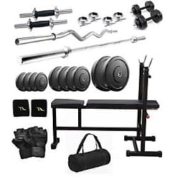 Body Maxx 30 Kg Home Gym, 2 Dumbbell Rods, 2 Rods(1 Curl), 3 In 1 (I/D/F) Bench With Gym Bag (BIGObagI-D-F7)