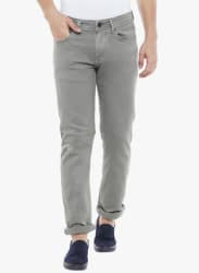 Grey Solid Mid Rise Regular Fit Jeans