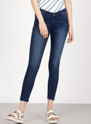 Blue Skinny Fit Mid-Rise Clean Look Cropped Stretchable Jeans