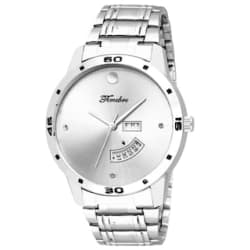 Timebre Men White Stainless Steel Day & Date Analog Watch