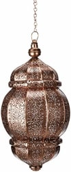 Anasa Decor Decorative Moroccan Metal Lantern (20.32 cm x 20.32 cm x 43.18 cm, Brown)
