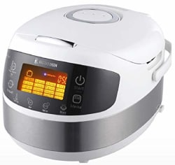 RNG EKO Green (3-in-1) Digital Smart Electric Multifunction Cooker/Rice Cooker/Stir Fryer [Capacity-1.8 Litre, Size-5 L, White]