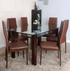 HomeTown Fieste Glass 6 Seater Dining Set Finish Color - Brown