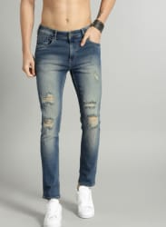 Blue Skinny Fit Mid-Rise Mildly Distressed Stretchable Jeans