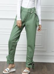 from Deepika Padukone Green Regular Fit Solid Regular Trousers