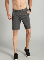 Charcoal Grey Solid Regular Fit Chino Shorts