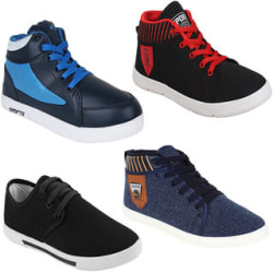 Super Men Combo Pack Of 4 (Casual Shoes, Loafer Shoes With Sports Shoes)