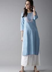 Moda Rapido Women Blue Embroidered Detail Straight Kurta