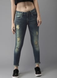 Moda Rapido Women Blue Skinny Fit Mid-Rise Low Distress Stretchable Jeans