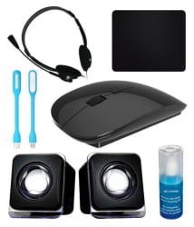 Anwesha Wireless Sleek Mouse 7in1 Combo with Headphone, 2 USB Light, Mouse Pad, Gel Cleaner & USB Powered Mini Speaker