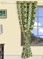 Green Abstract Long Door Curtains
