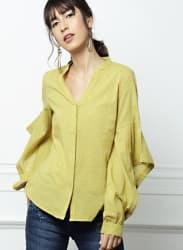 Mustard Self Design Shirt Style Top