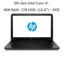 HP 15q-bu003tu Laptop (6th Gen Intel Core i3- 4GB RAM- 1TB HDD- 39.62cm(15.6)- DOS- Intel HD Graphics 620) (Black)