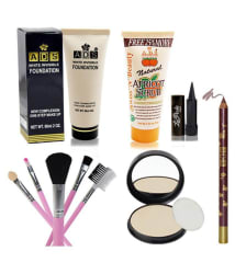 Adbeni Compact,Lipliner,Scrub,Foundation,Brush,Kajal Pack of 6 Premium Combo Makeup Sets Makeup Kit no.s Pack of 10