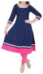 The Style Story Women Cotton Printed Anarkali Kurta - Blue