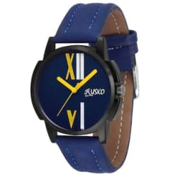 Rusko Blue Dial Blue Leather Strap Aanlog Watch