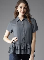 Grey Solid Shirt Style Top